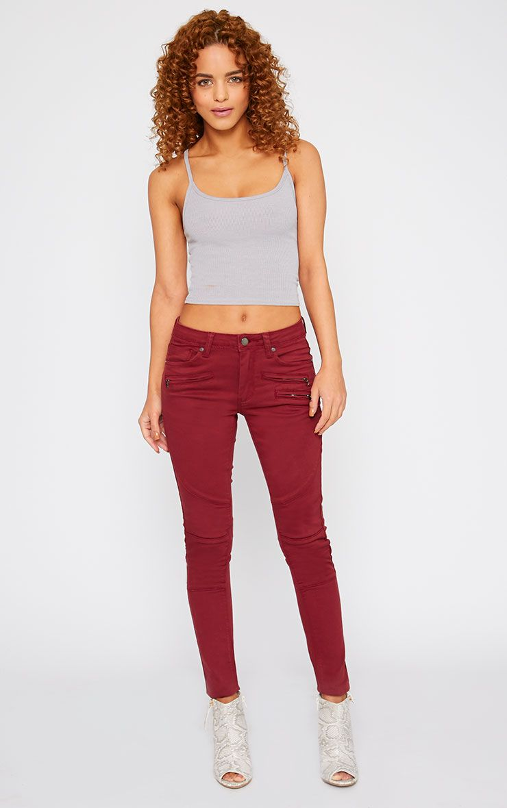 Perrine Burgundy Zip Pocket Skinny Jean  1
