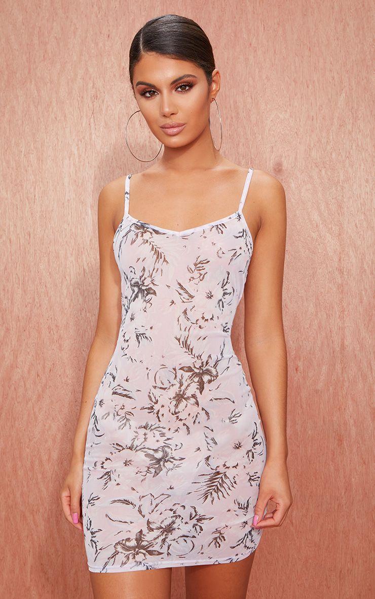 Lilac Printed Mesh Bodycon Dress