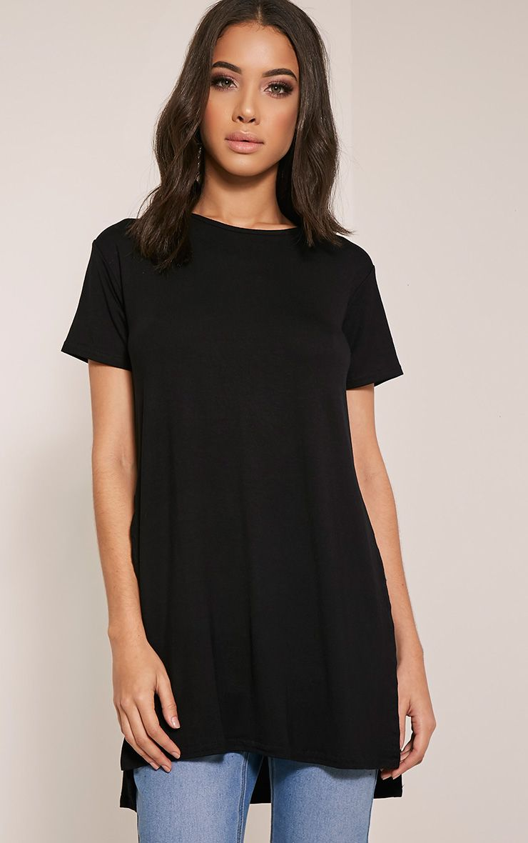 Basic Black Side Split T-Shirt
