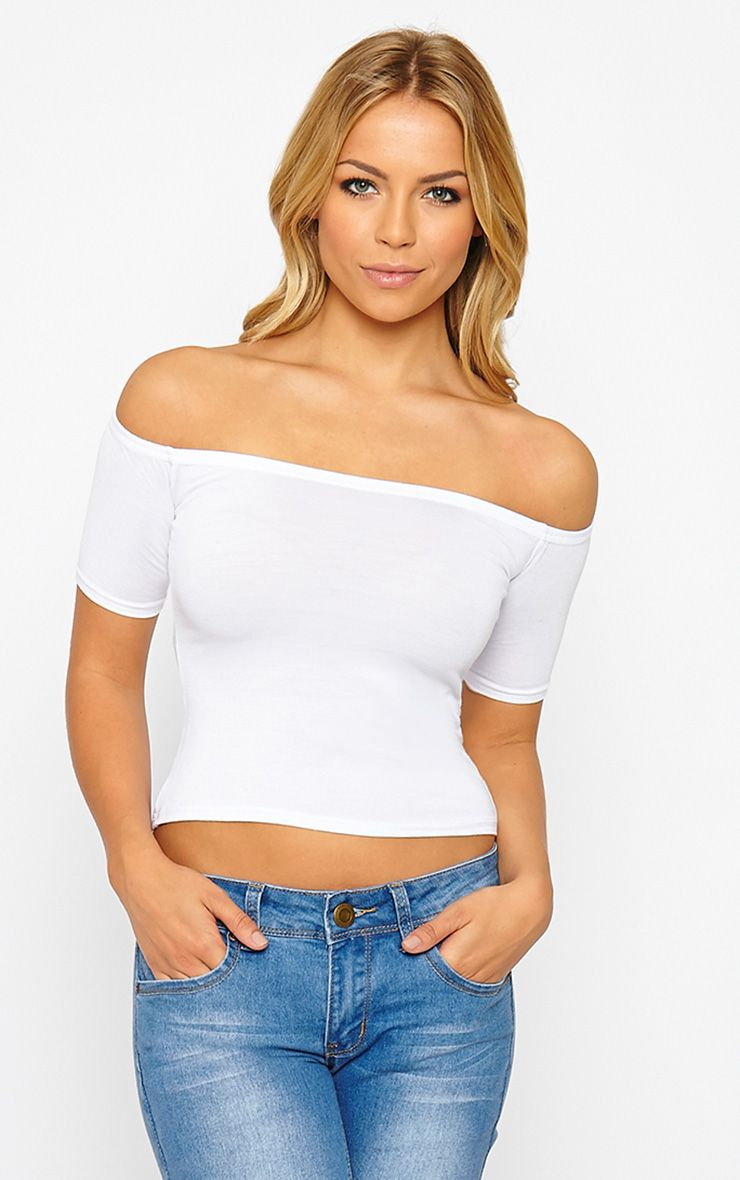 Basic White Bardot Crop Top