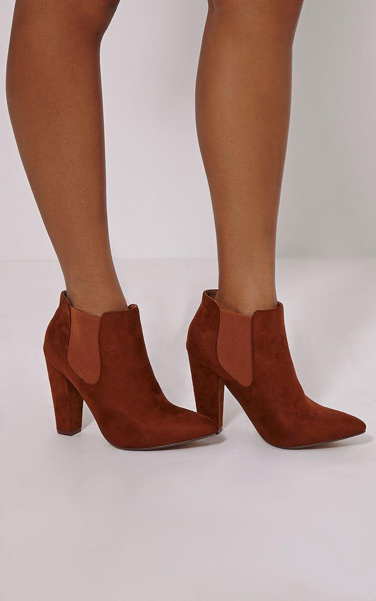 Bridget Tan Faux Suede Heeled Chelsea Ankle Boots 1