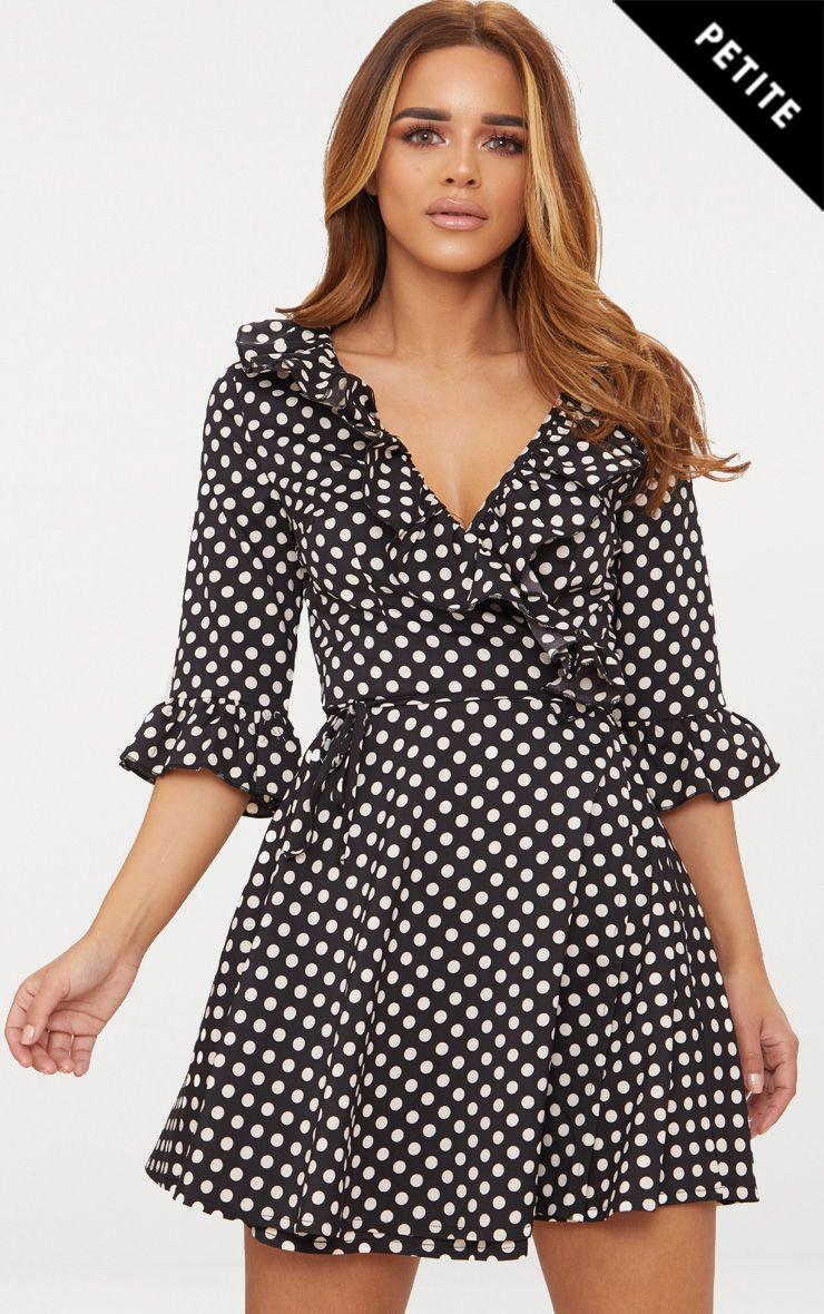 Petite Black Polka Dot Frill Detail Wrap Dress