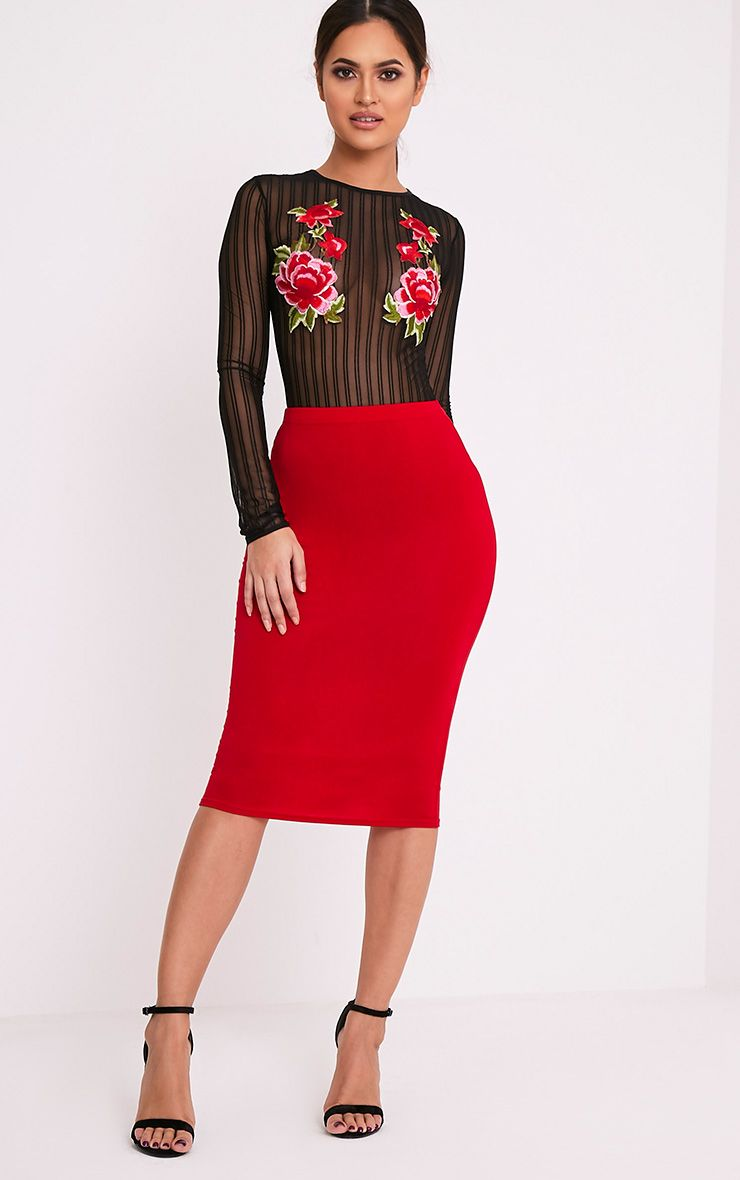 Basic Red Jersey Midi Skirt