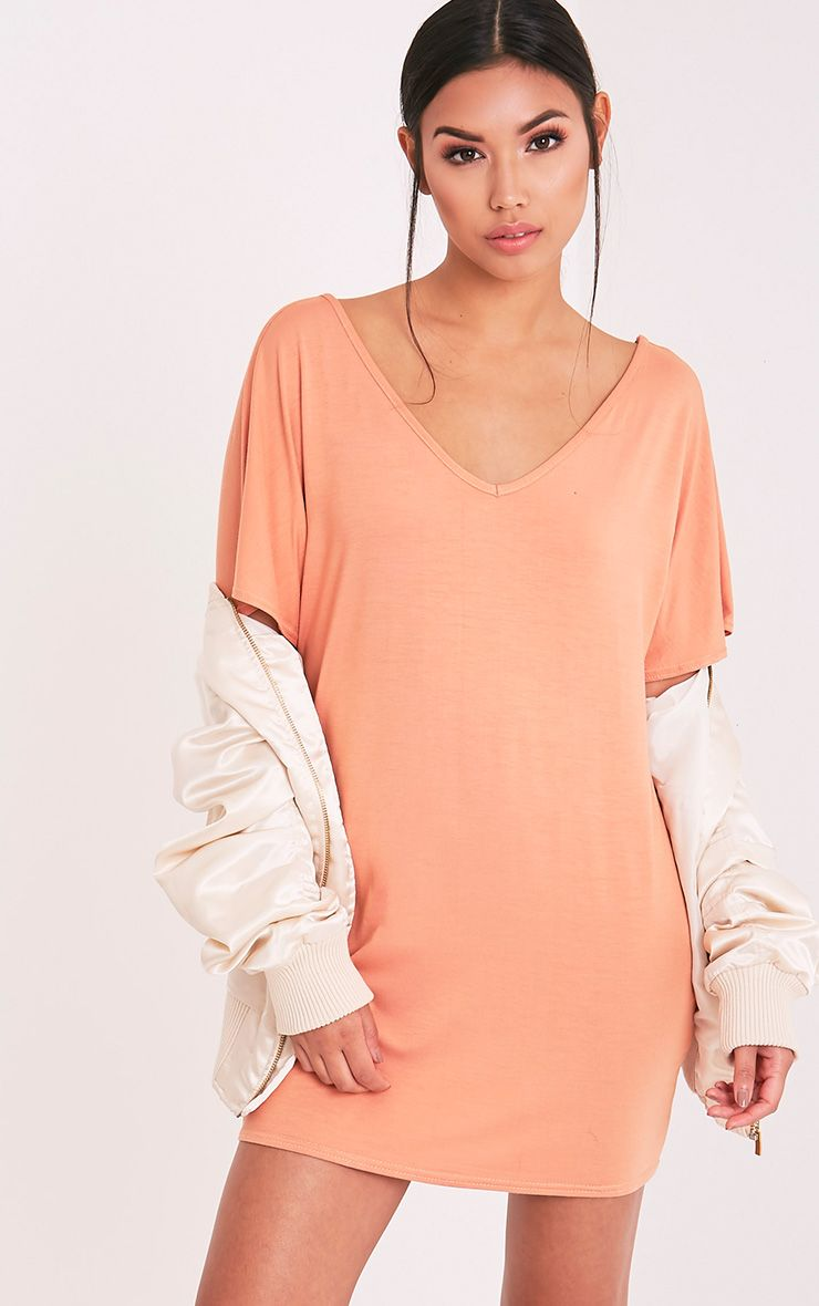 Basic Deep Peach V Neck T Shirt Dress 1