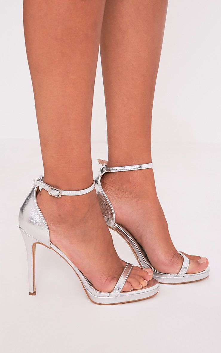 Enna Silver Single Strap Heeled Sandals 1