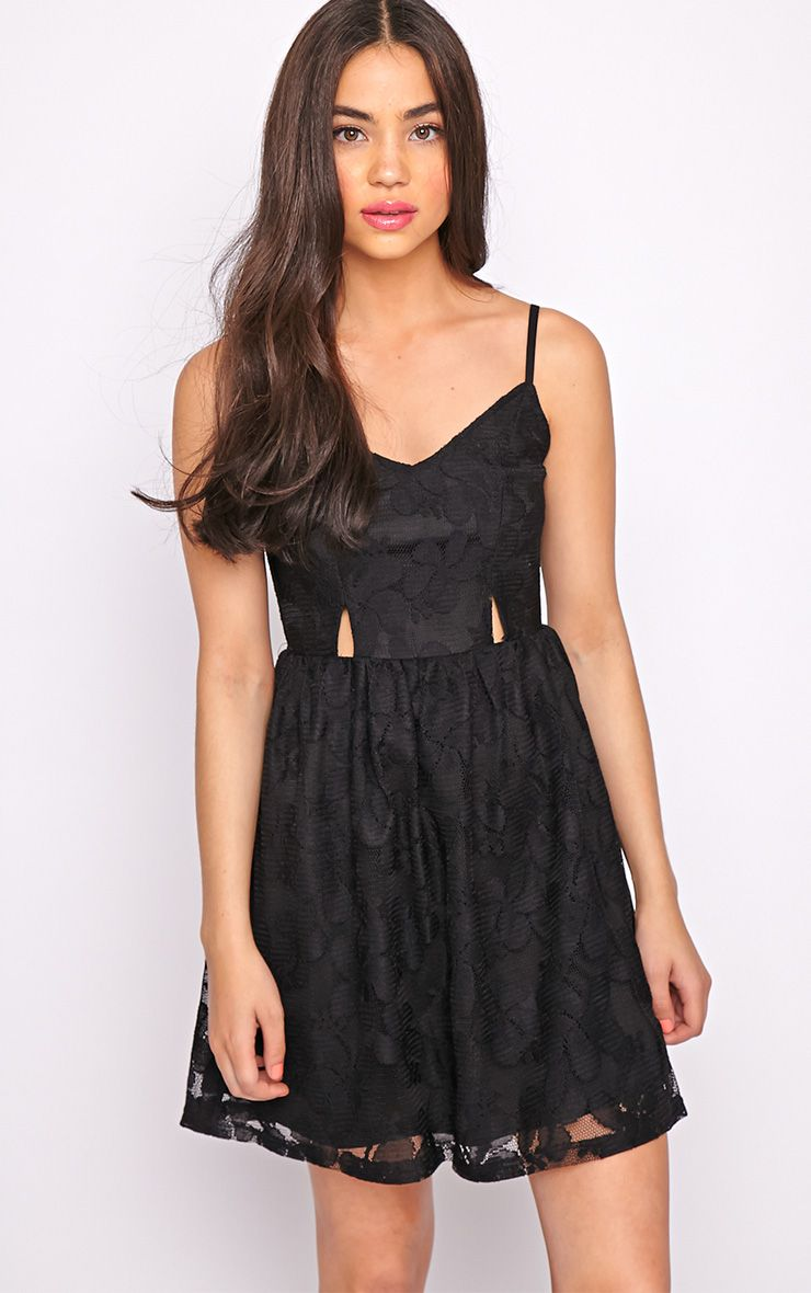 Lissy Black Lace Skater Dress 1