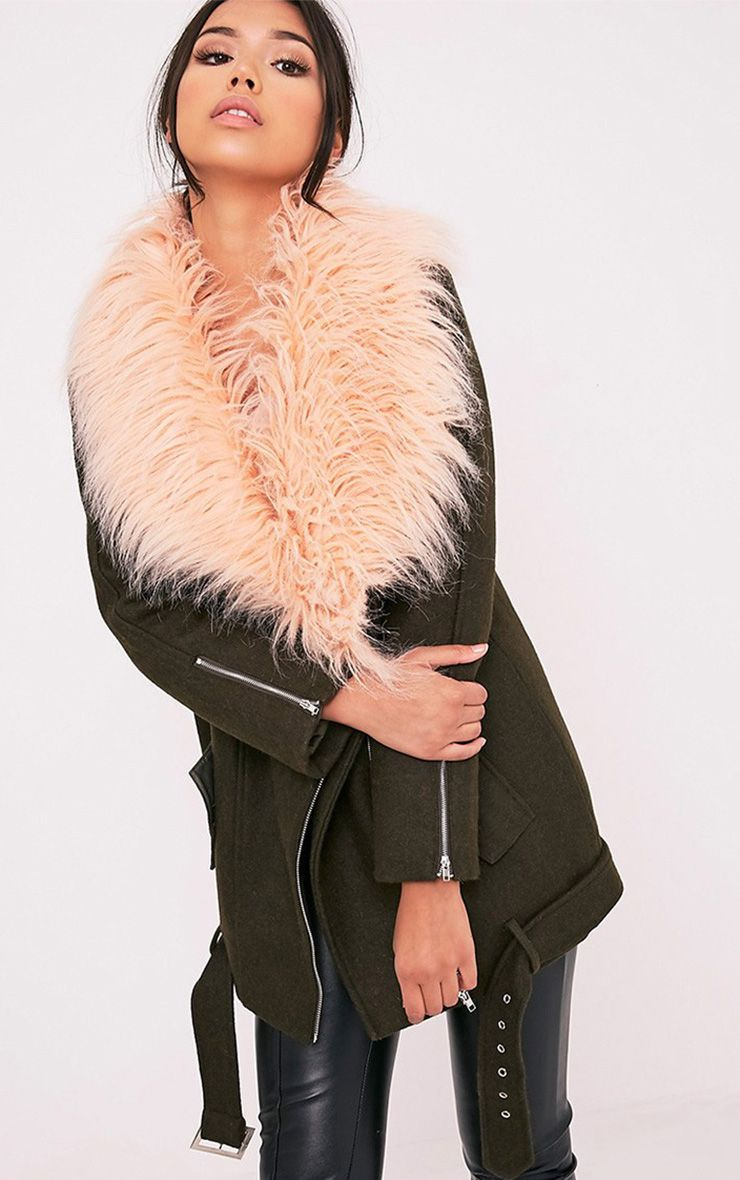 Anderson Khaki Oversized Faux Fur Collar Aviator