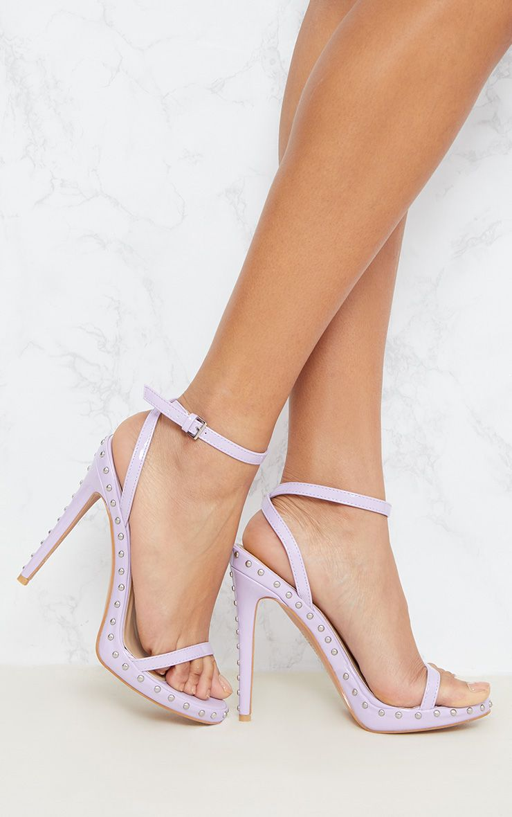 PRETTYLITTLETHING Lilac Studded Strappy Sandal