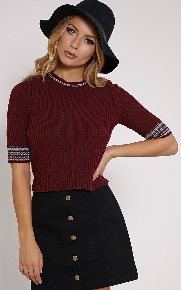 Sarha Burgundy Cropped Knitted Jumper 1