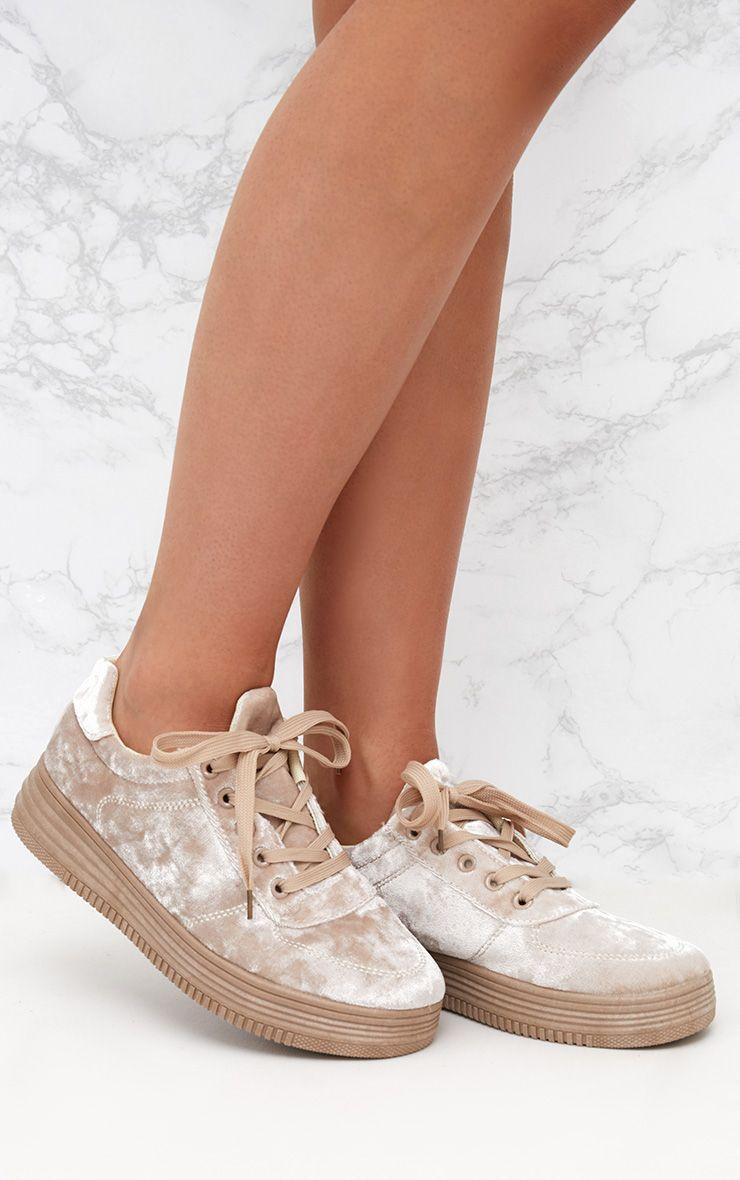 Nude Velvet Platform Sneakers