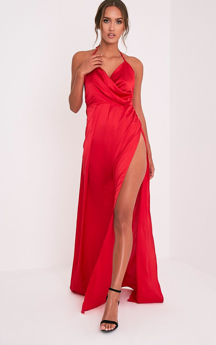 Lucie Red Silky Plunge Extreme Split Maxi Dress 1