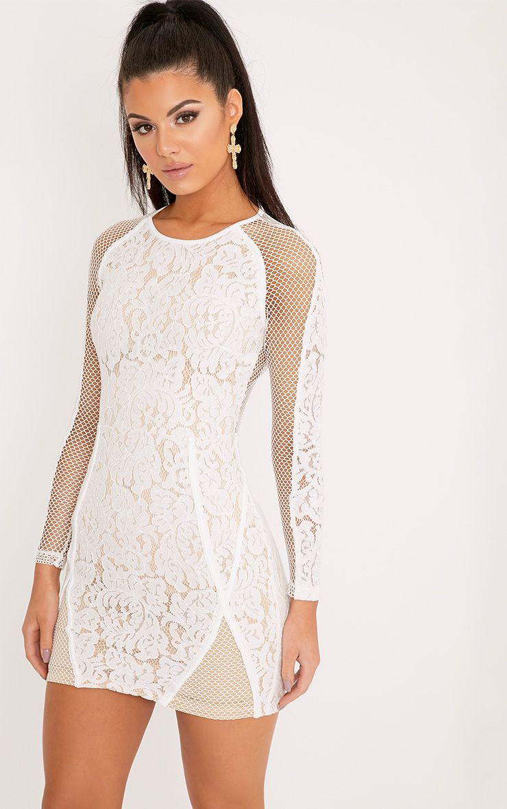 Ida White Lace Fishnet Panel Bodycon Dress