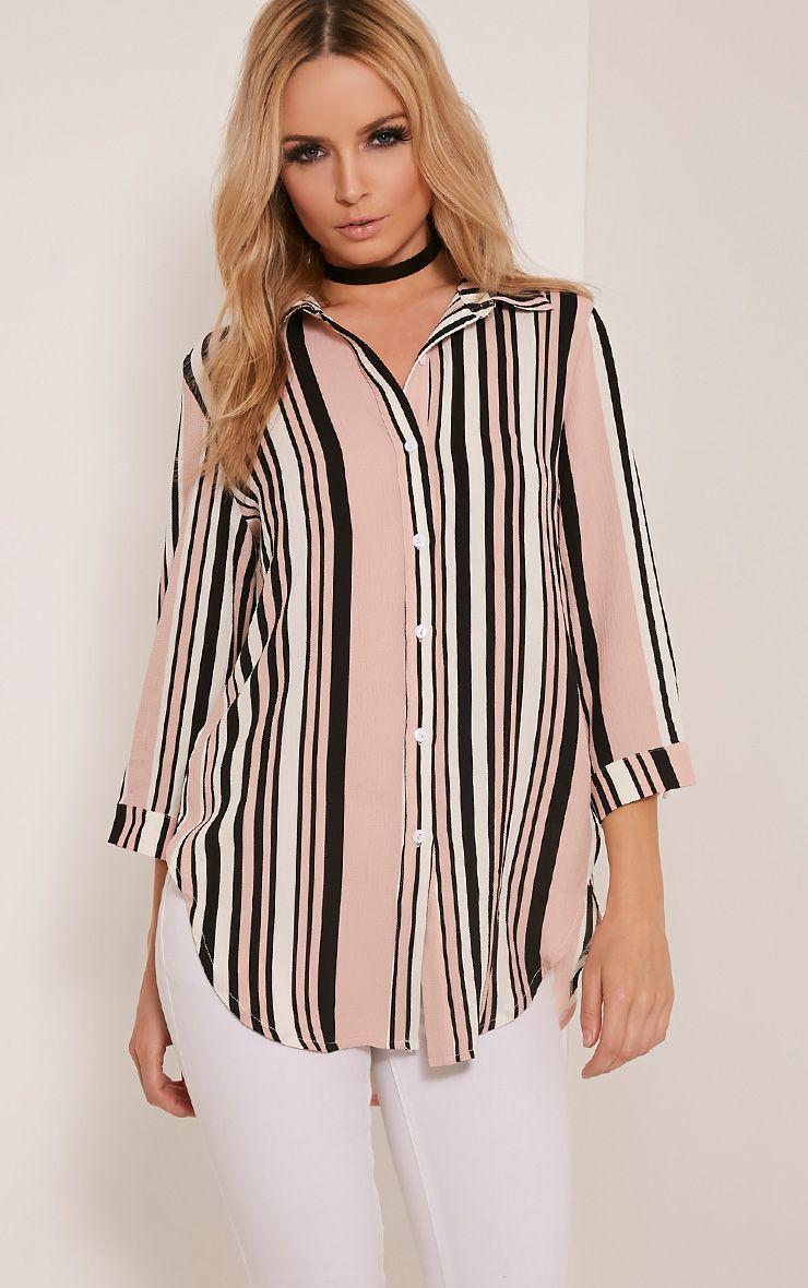 Macy Nude Stripe Print Shirt