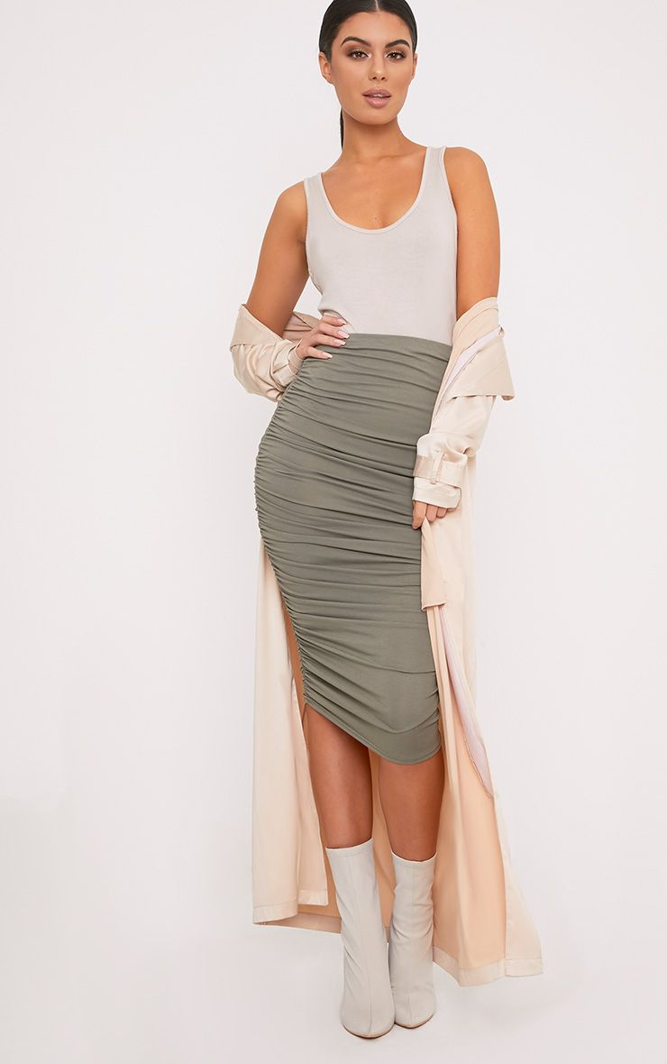 Katerina Khaki Ruched Side Midi Skirt 1