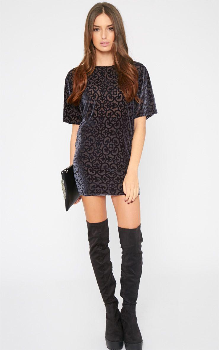 Aviana Grey Velvet Burn Out Mini Skirt 1