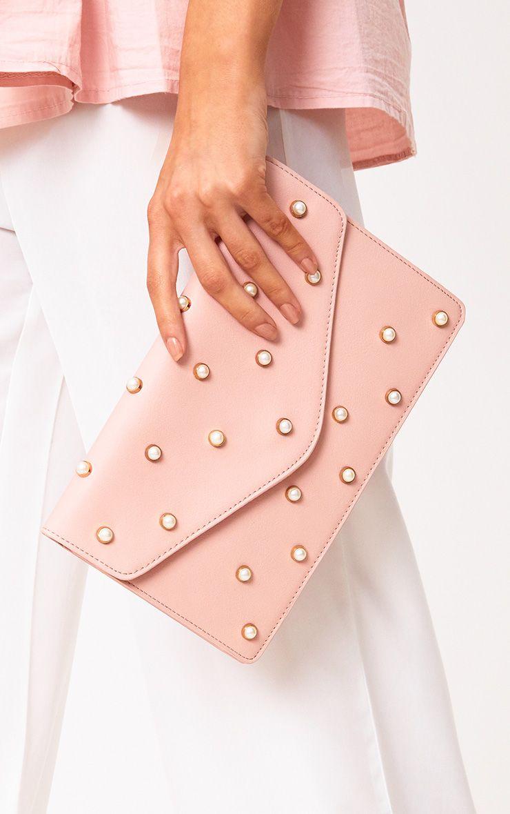 Pink Pearl Stud Clutch