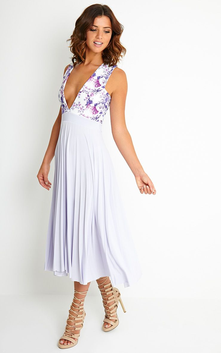 Rebekah Lilac Floral Pleated Midi Dress - Dresses ...