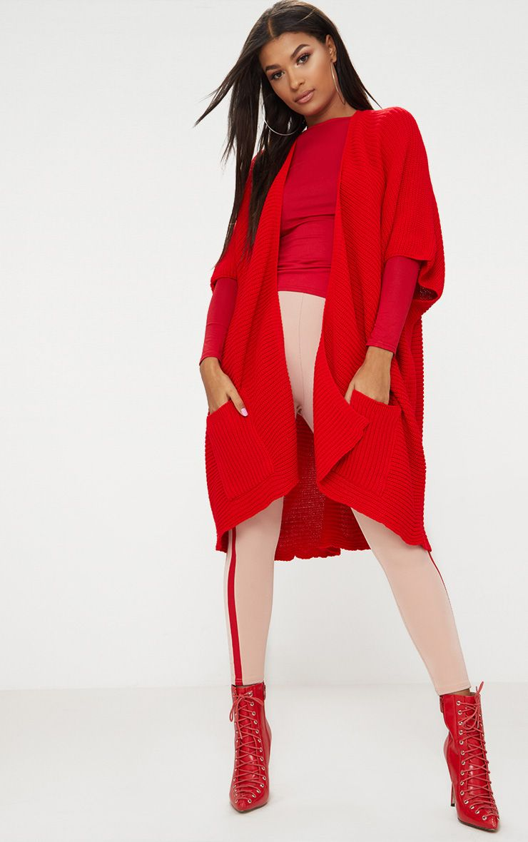 Red Chunky Knit 3/4 Sleeve Wrap Cardigan