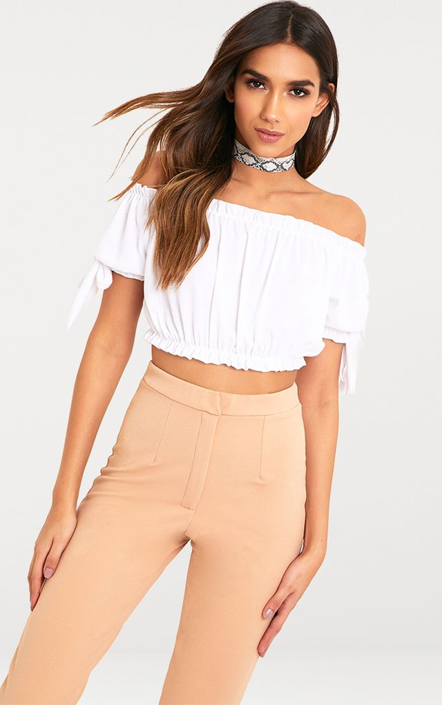 Norah White Bardot Bow Sleeve Jersey Crop Top