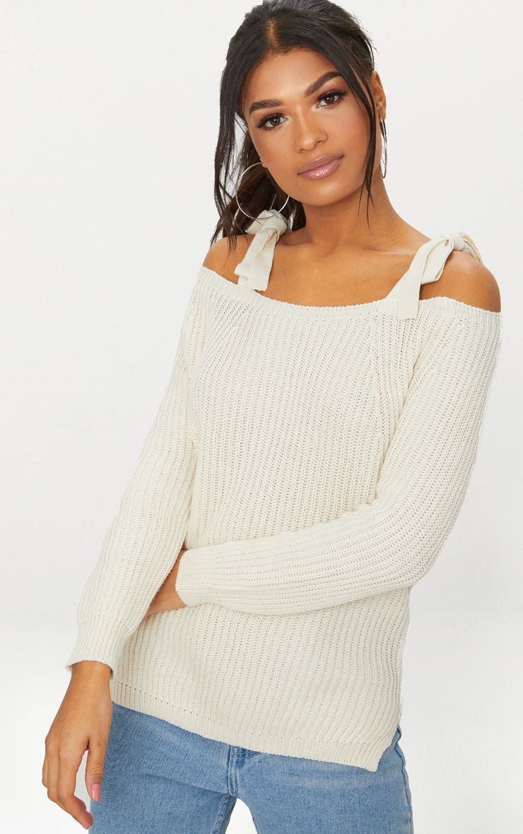 Cream Tie Shoulder Detail Jumper