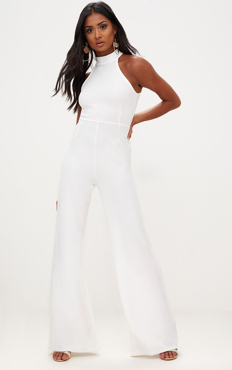 White Crepe High Neck Jumpsuit