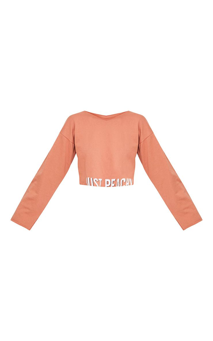 Sweat-shirt court pêche foncé à slogan JUST PEACHY 3