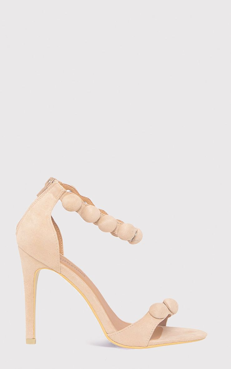 Una Cream Suede Studded Strappy Heeled Sandal 1