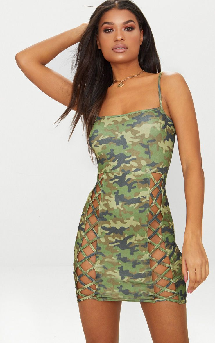 Green Camo Strappy Square Neck Lace Up Thigh Bodycon Dress