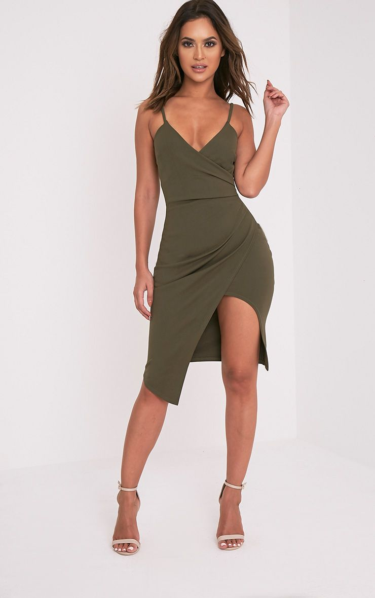 Lauriell Khaki Wrap Front Crepe Midi Dress