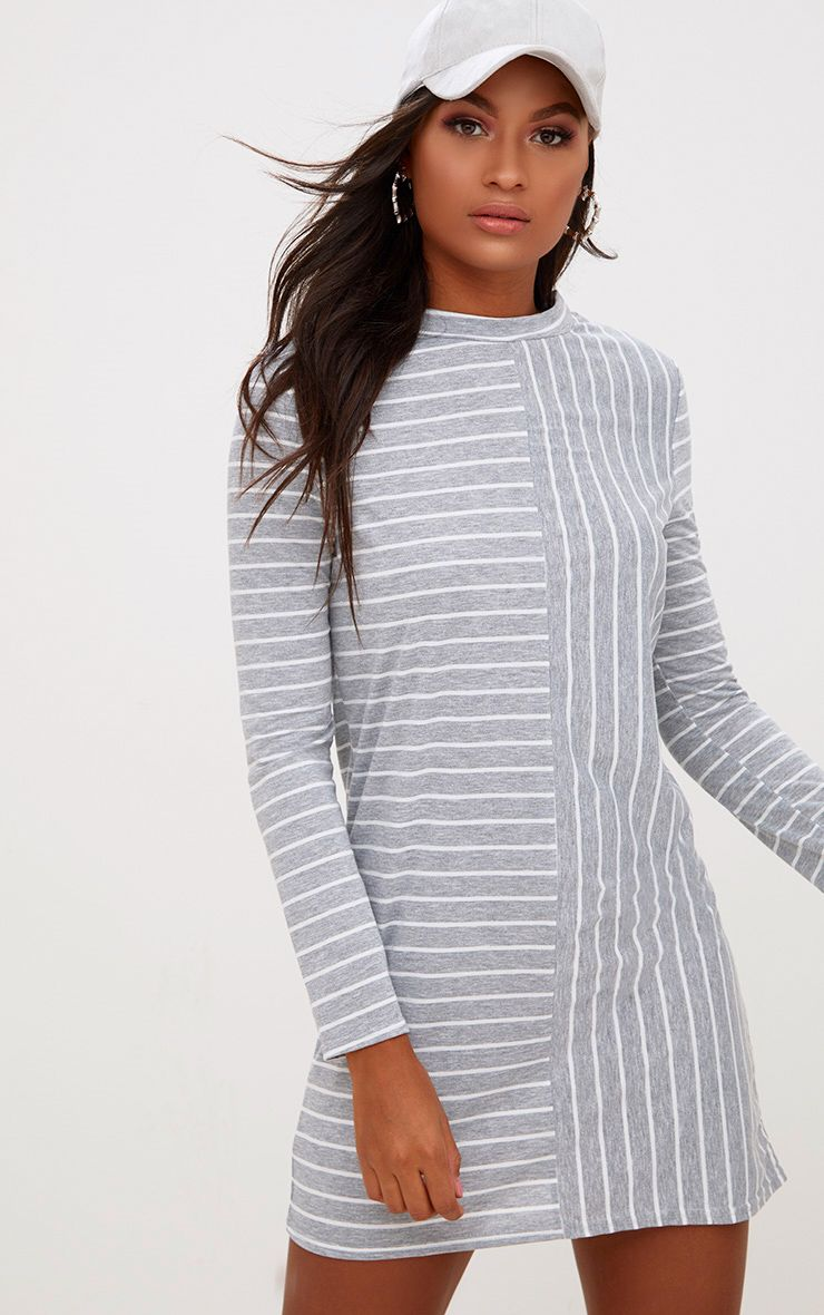 Grey Striped Long Sleeve T Shirt Dress