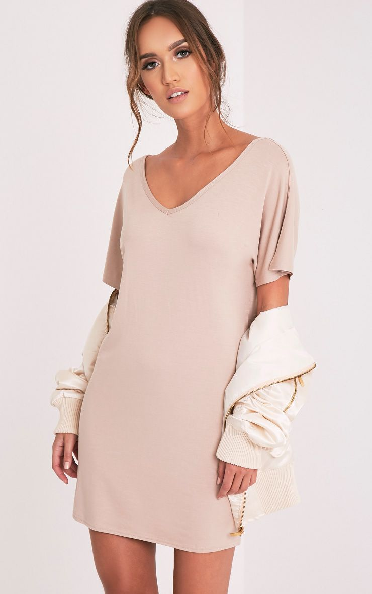 Basic Nude V Neck T Shirt Dress