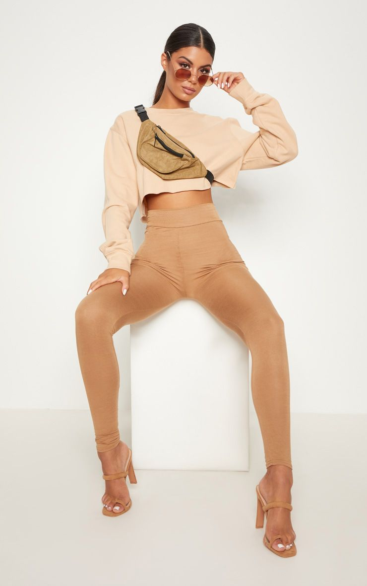 Dabria Camel High Waisted Jersey Leggings 1
