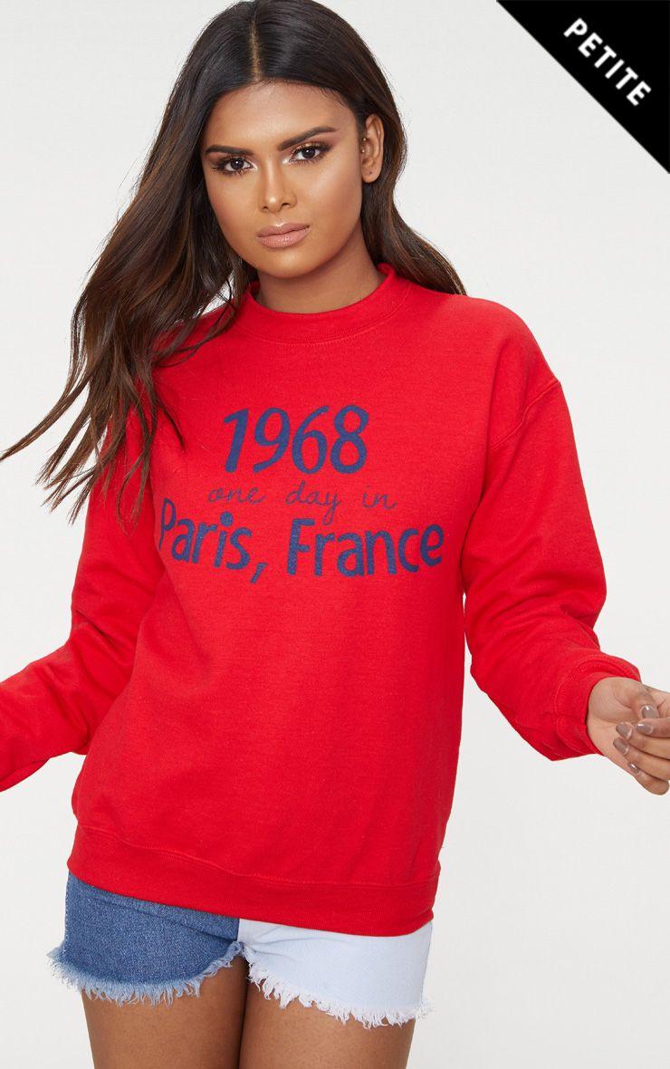 Petite Red Paris Slogan Sweater