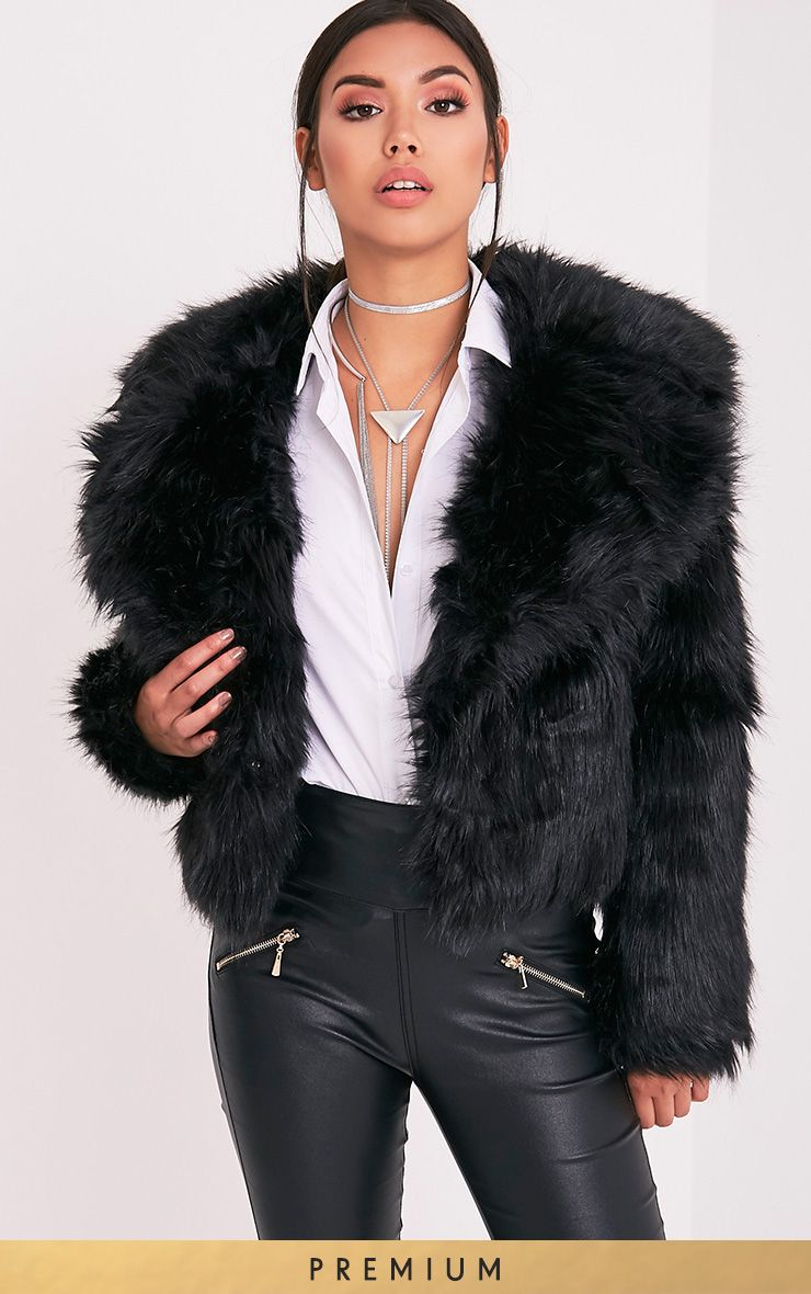 Sophiah Black Faux Fur Jacket
