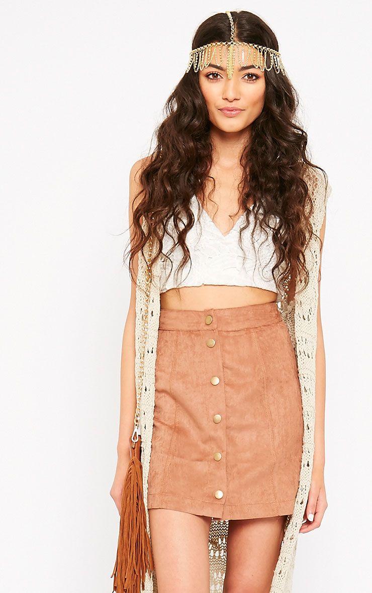 Cheryl Tan Suede Button Skirt 1