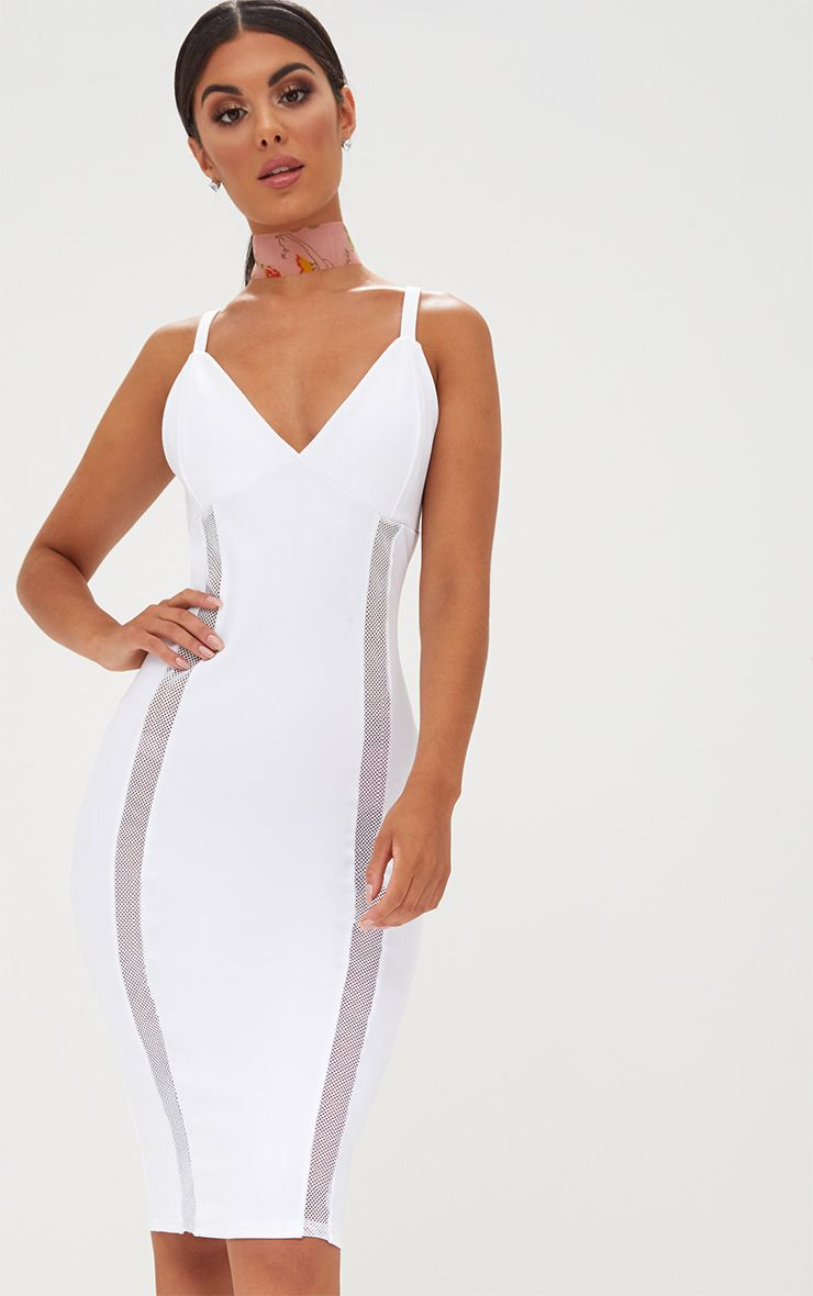 White Strappy Fishnet Panel Midi Dress