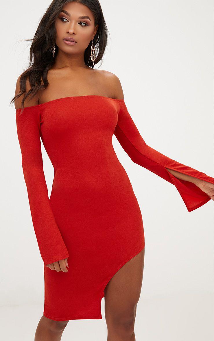 Burnt Orange Bardot Split Sleeve Detail Midi Dress