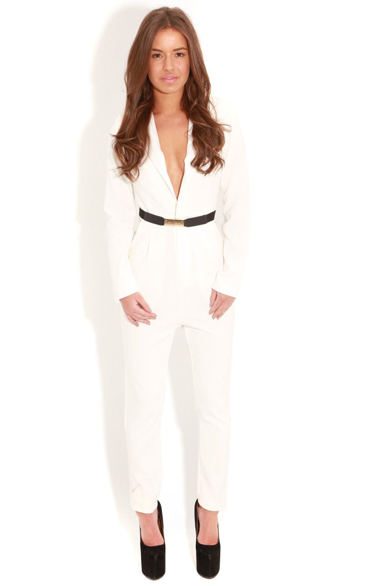 Gianni White Crossover Tailored Jumpsuit 1