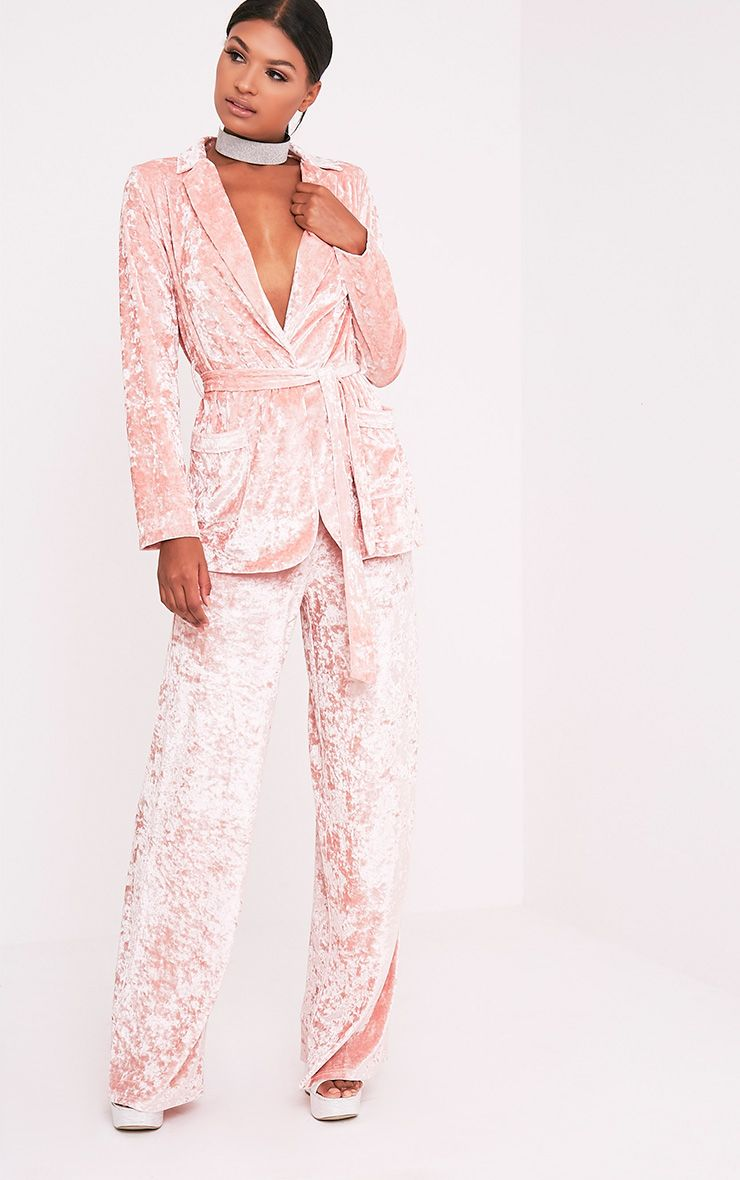 Marisha Blush Crushed Velvet Wide Leg Trousers