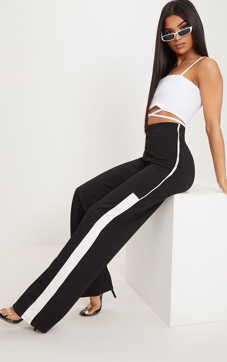 Black Contrast Binding Stripe Straight Leg Trouser