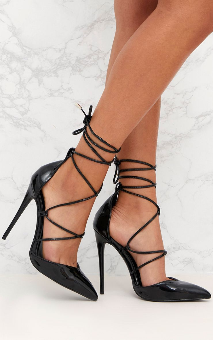 Black Pointed Patent Stiletto Heels 1