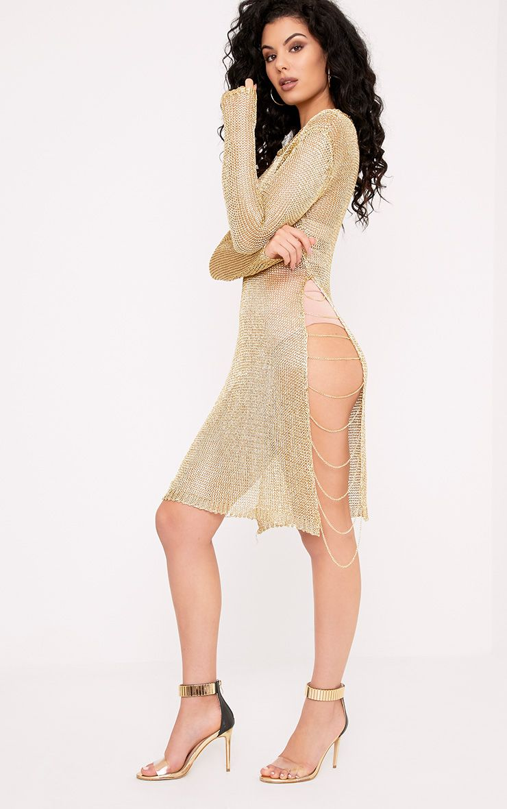 Lilianna Gold Metallic Knitted Sheer Chain Mini Dress