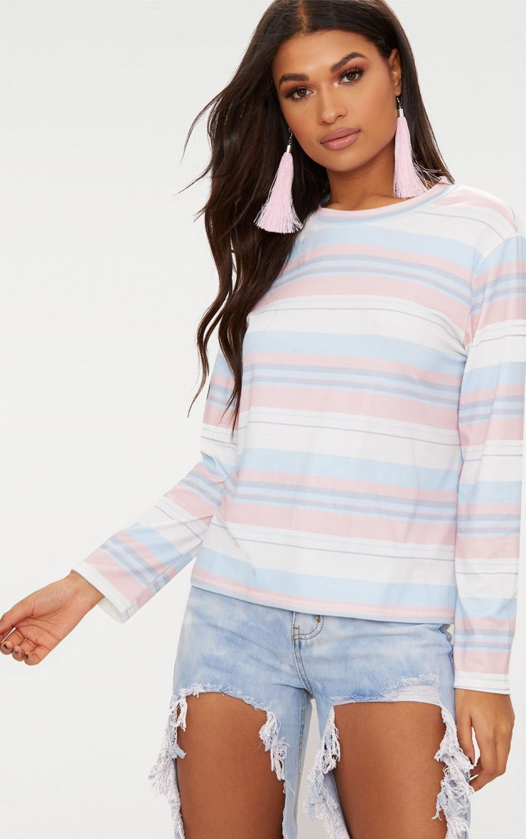 pastel pink stripe long sleeve top