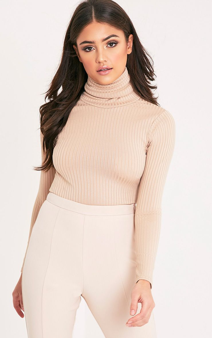 Rheta Stone Ribbed Polo Neck Top 1