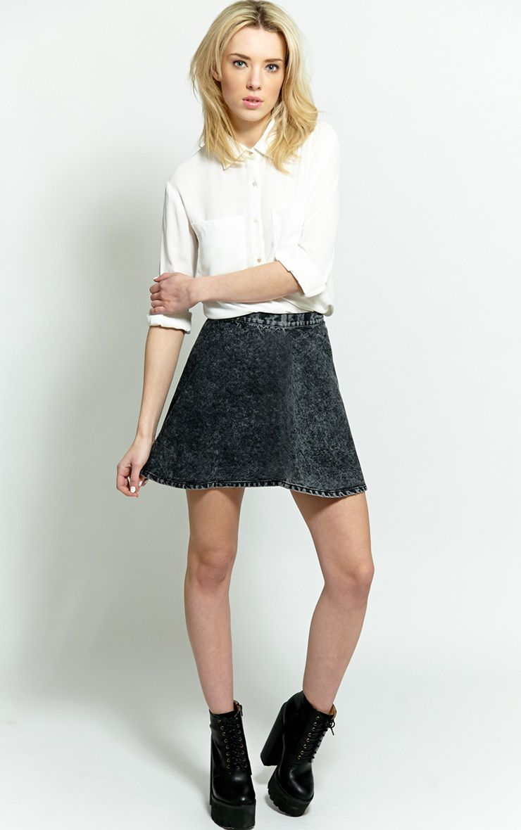 Safaia Black Acid Wash Denim Skirt 1