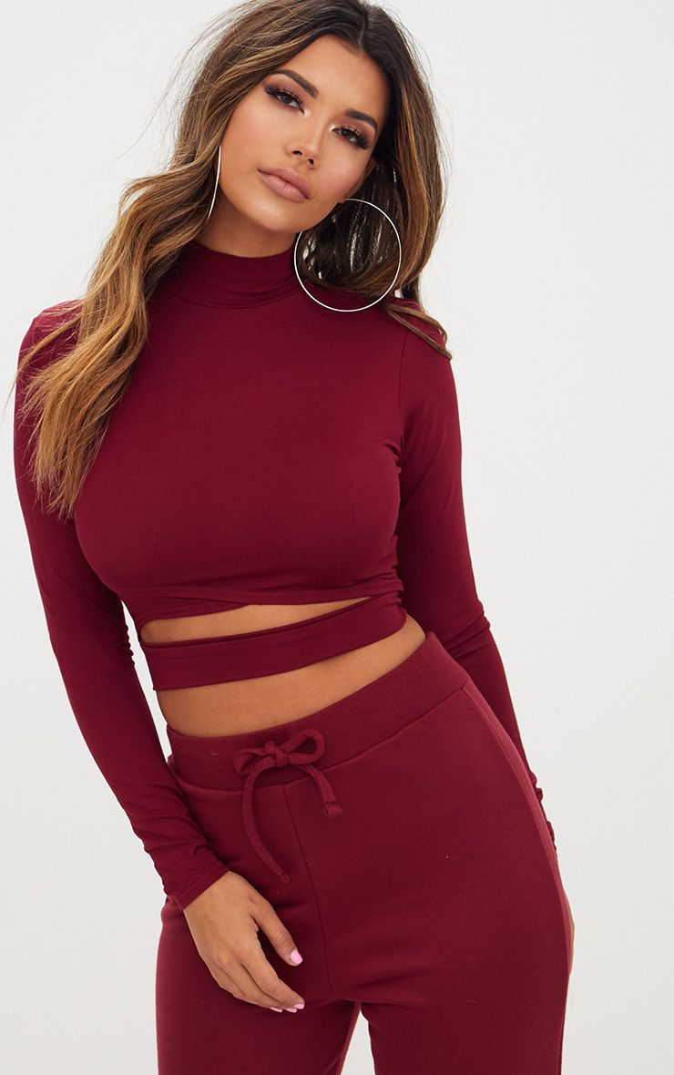 Burgundy Jersey Open Front Longsleeve Crop Top