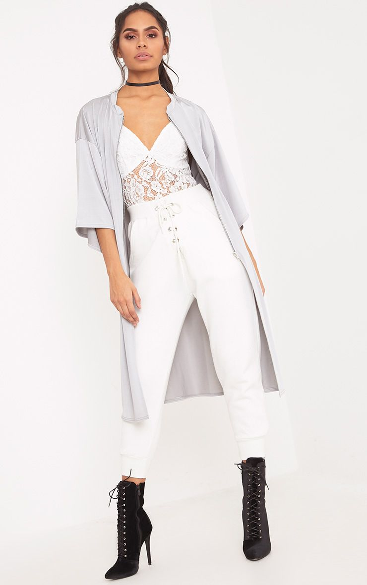 Luisiana Light Grey Zip Through Slinky Longline Jacket