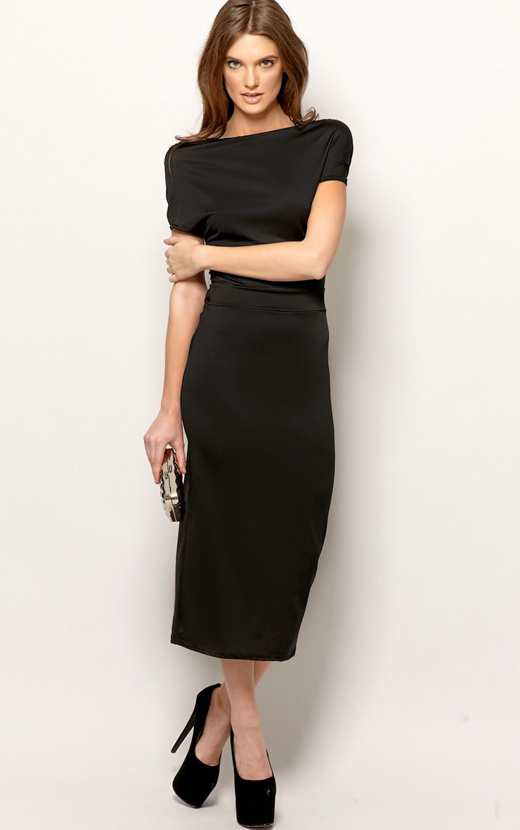 Chrissy Black Cowl Front Midi Dress 1