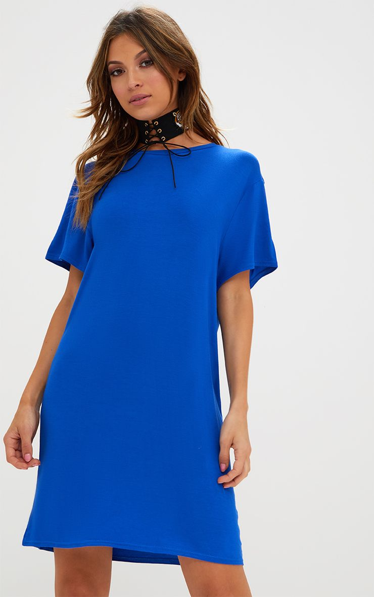 Basic Cobalt Short Sleeve T Shirt Dress