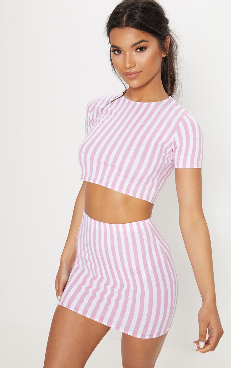 Pink Jersey Stripe Mini Skirt